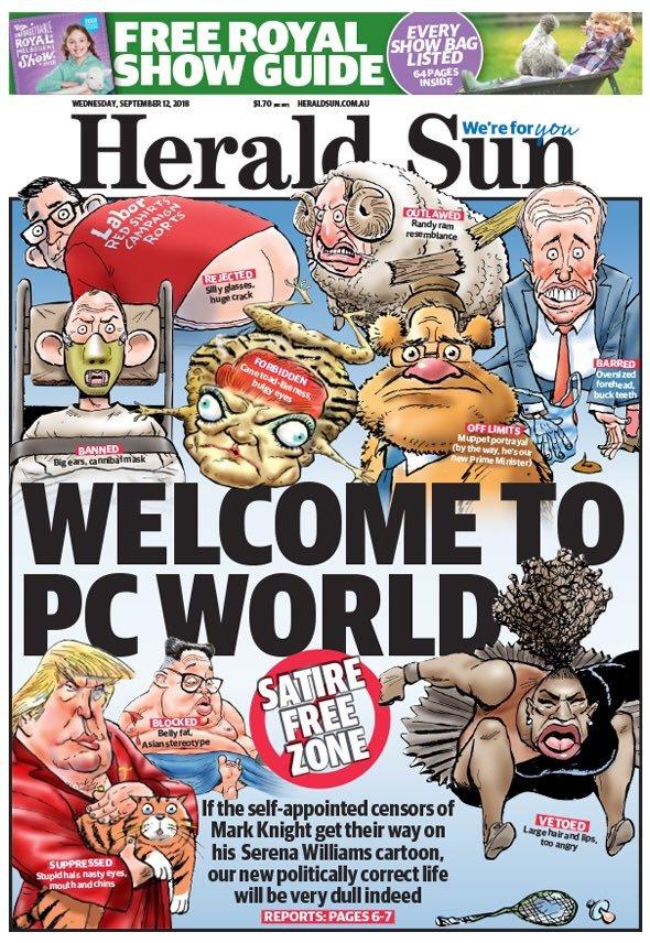 Portada del Herald Sun para defender su caricatura de Serena Williams,...