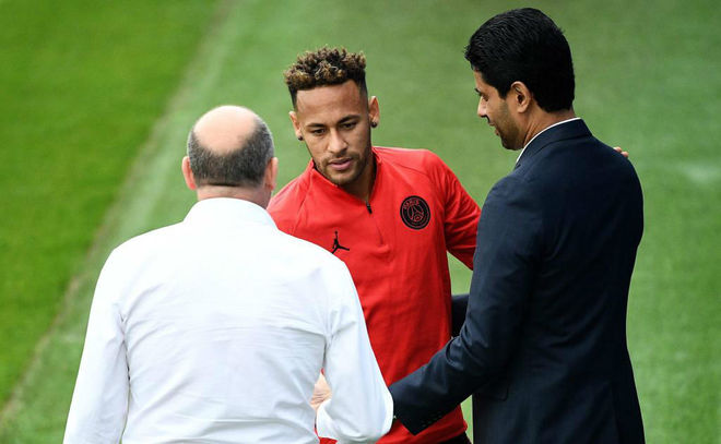 Paris Saint-Germain chairman Nasser Al-Khelaifi with Neymar Junior.