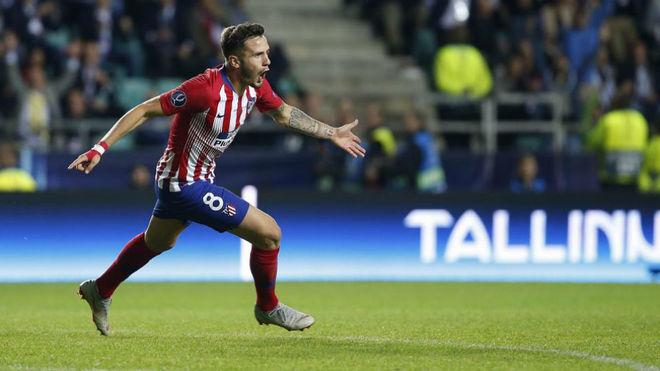 Saul Niguez celebrates a goal