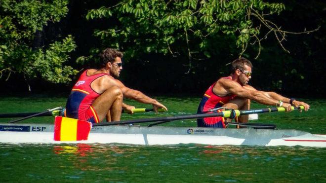 Jaime Canalejo y Javier García durante una regata.