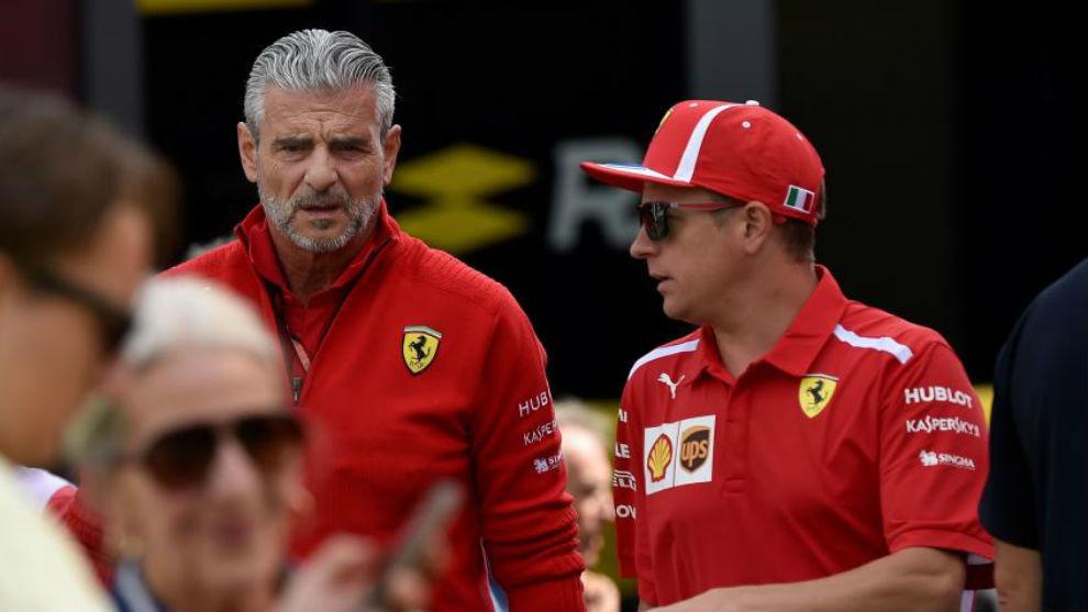 Arrivabene y Raikkonen, en un GP de este año.