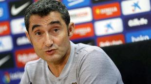 Valverde, en una rueda de prensa.