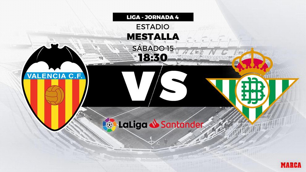 Valencia vs Betis - 15 de septiembre a las 18.30 hroas