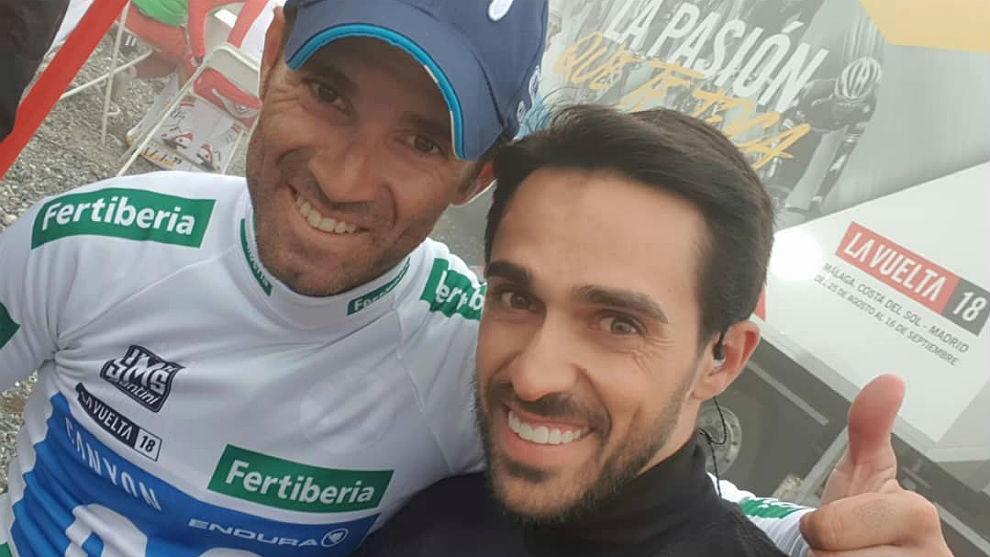 Alberto Contador y Alejandro Valverde, el miércoles en Oiz.