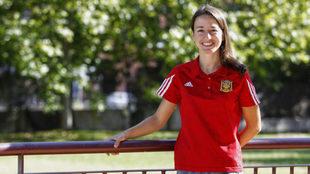 Isa García, psicóloga del fútbol base del Alcorcón, durante la...