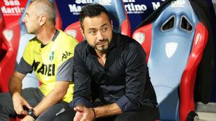 De Zerbi, durante el partido del Sassuolo contra el Cagliari.