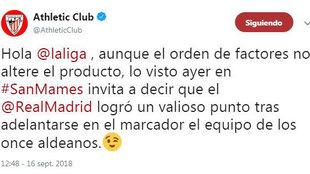 El tuit del Athletic Club.