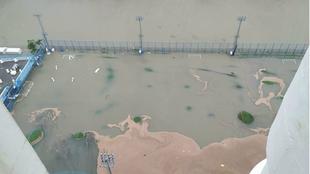 El centro de entrenamiento del Kitchee totalmente inundado.