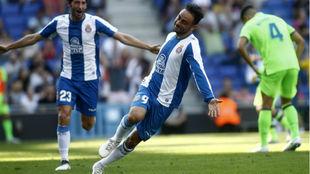Sergio García celebra el gol que marcó contra el Levante