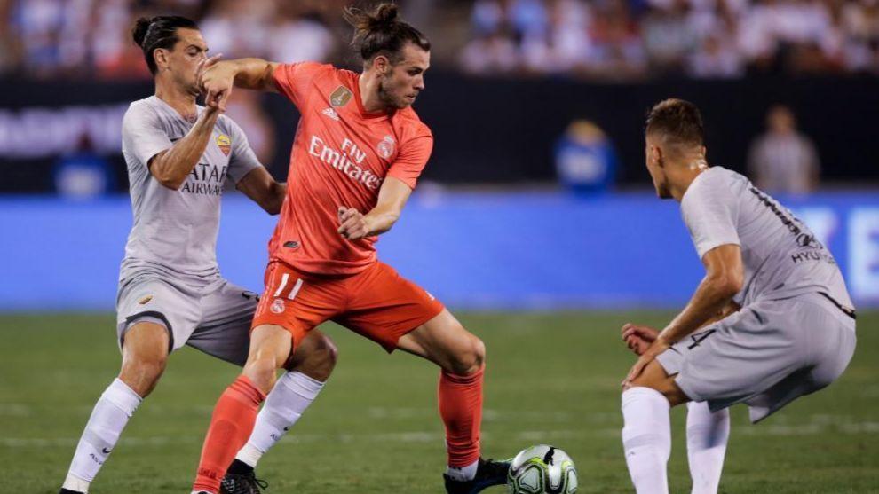 Bale puja por la pelota en el último amistoso ante la Roma en agosto.