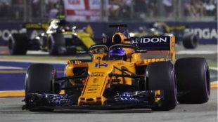 Fernando Alonso, durante el pasado Gran Premio de Singapur.