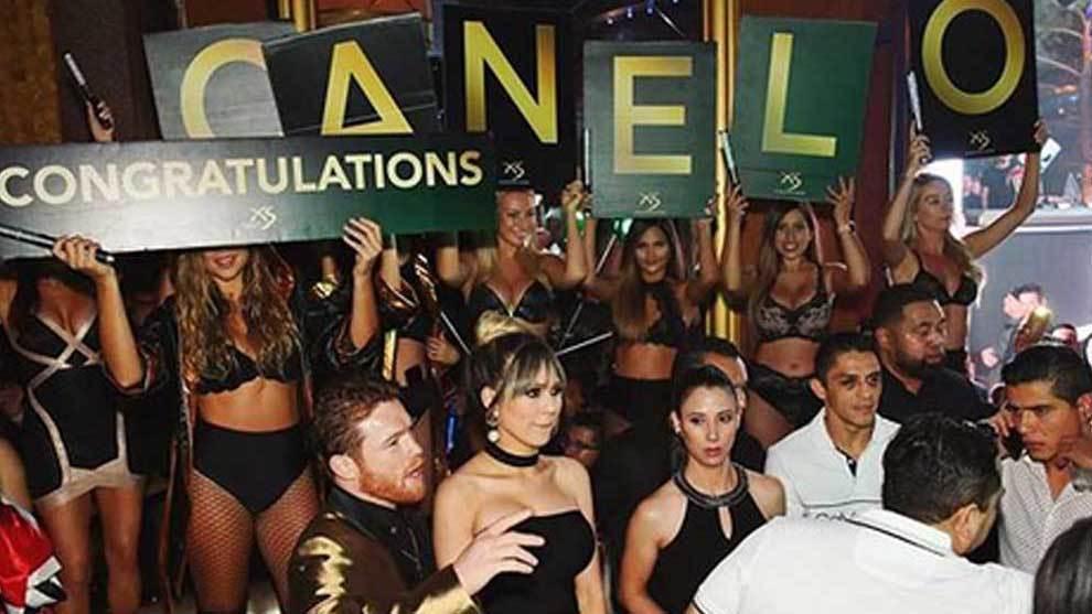 """La """"fiesta oficial"""" de Canelo en el XS Las Vegas tras ganar a Golovkin"""