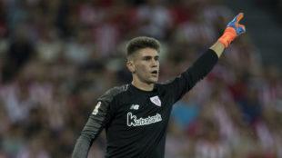 Unai Simón, durante el choque frente al Real Madrid