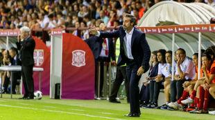Jorge Vilda durante un partido de la selección española en Las...