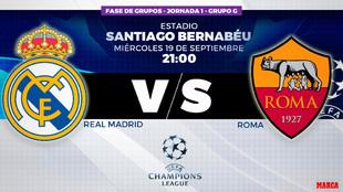 Real Madrid vs Roma - Champions League - 21:00 horas Santiago...