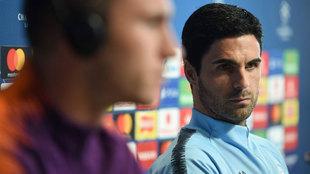 Mikel Arteta en rueda de prensa.
