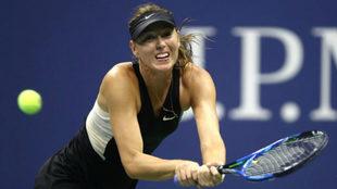 Maria Sharapova durante su partido frente a Carla Suárez en el US...