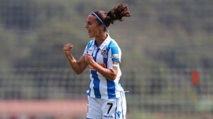 Nahikari García celebra un gol el pasado fin de semana en Zubieta.