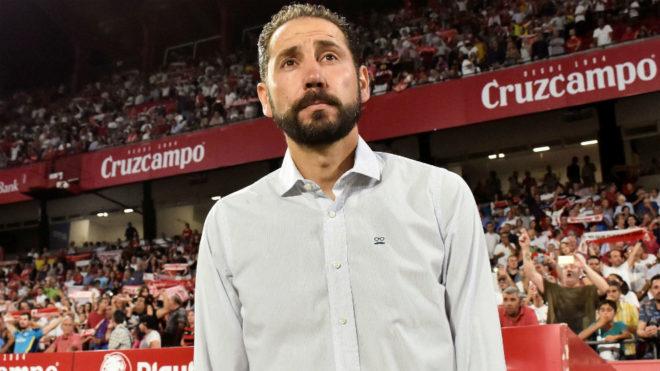 El entrenador del Sevilla, en el Sánchez-Pizjuán.