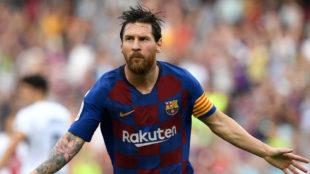 Fotomontaje de Messi con un diseño ajedrezado de la nueva camiseta...