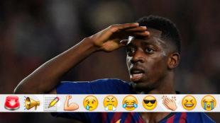 Dembélé celebra su gol al PSV