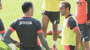 Cazorla, durante un entrenamiento con el Villarreal.