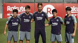 De izquierda a derecha: Riqui Puig, Miranda, Ezkieta, Morer y Collado.