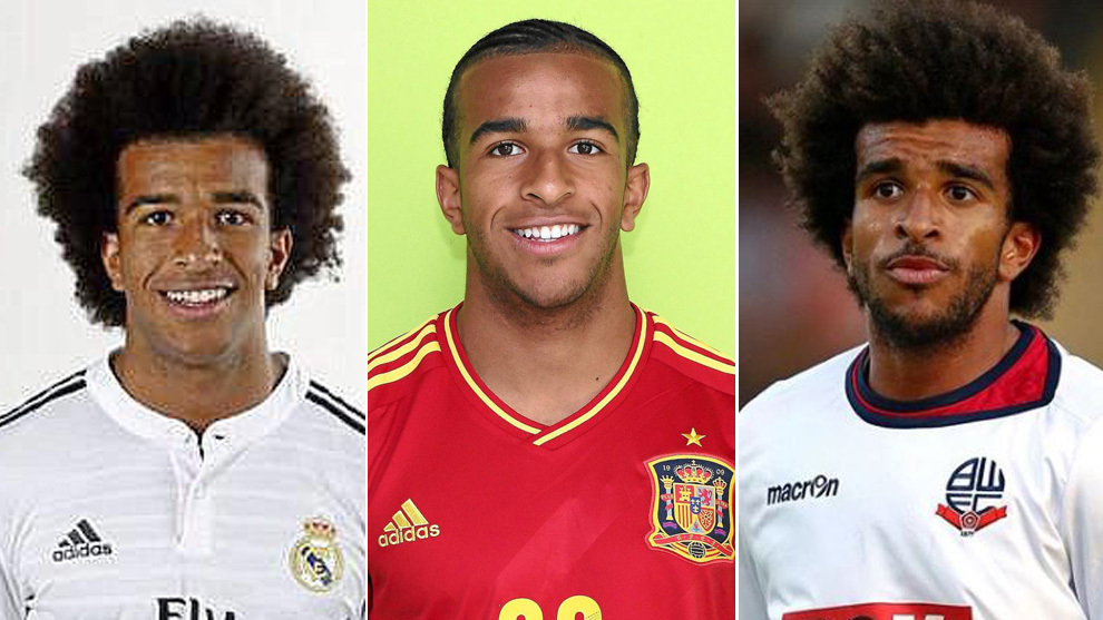 Derik, con las camisetas del Madrid, la selección y el Bolton