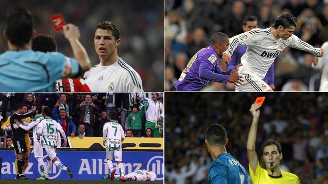imágenes de varias expulsiones de Cristiano Ronaldo.