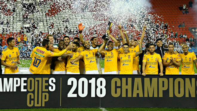 Tigres celebra el título de la Campeones Cup