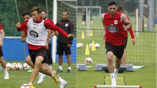 Saúl (izquierda) y Bóveda, durante un entrenamiento.