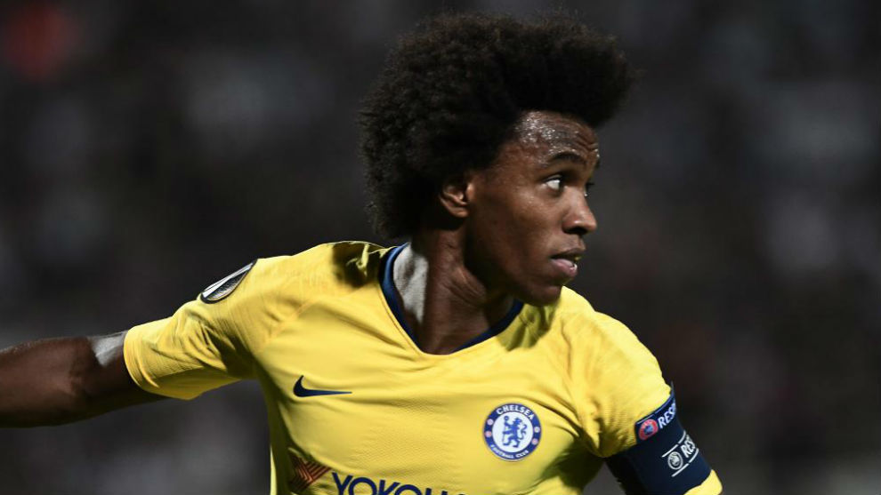 Willian, en acción contra el PAOK.