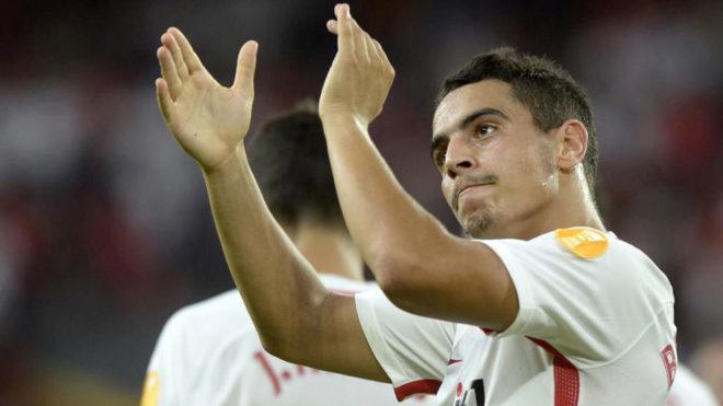 Ben Yedder celebra un gol en el partido ante el Standard de Lieja.
