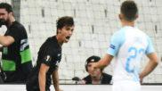 Lucas Torró celebra su gol ante el Marsella.