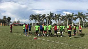 Durante un entrenamiento en Los Mochis.