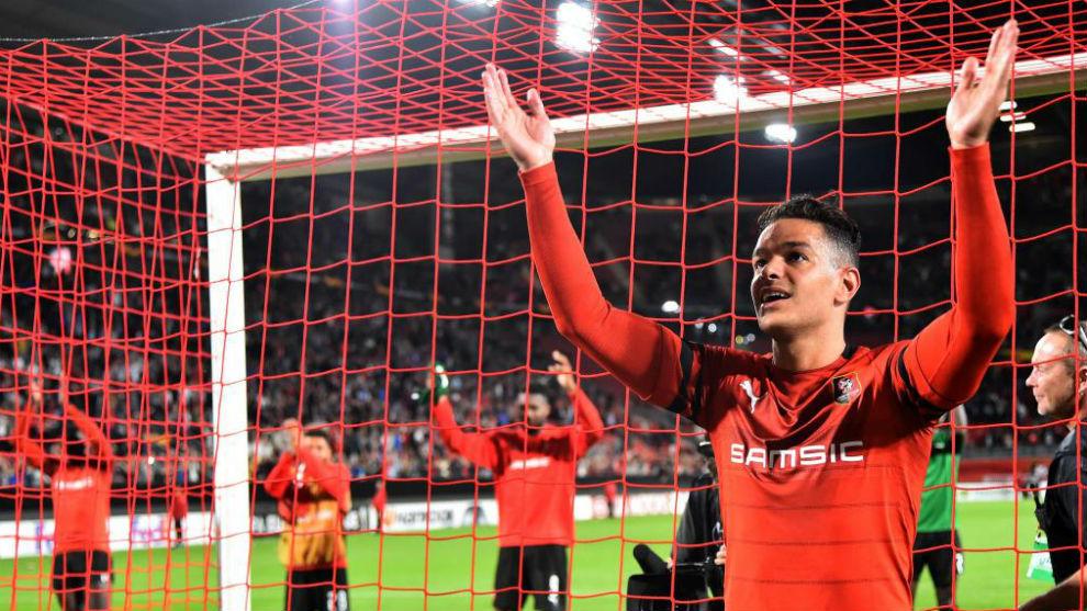 Ben Arfa celebra la victoria del Rennes sobre el Jablonec.