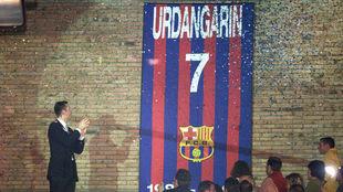 Iñaki Urdangarín, con su dorsal colgado en el Palau Blaugrana