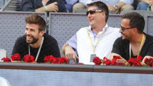 Gerard Piqué, a la izquierda, durante el Mutua Madrid Open