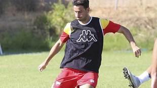 Iñigo López, durante un entrenamiento del Extremadura UD