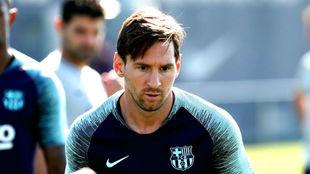 Messi sin barba en el entrenamiento de este viernes.