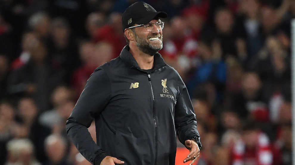 Klopp gestures after the match between Liverpool and Paris...