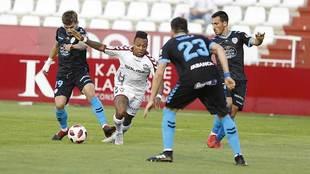 Juan Muñiz, Paulo Vitor, Vieira y Borja en el partido de Copa en el...