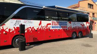 Autobús de Radio MARCA desplazado a Cariñena.