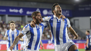 Mikel Merino celebrate his goal with Theo Hernandez