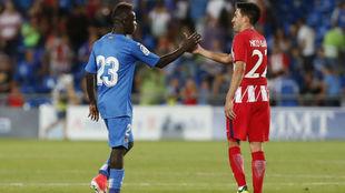 Amath saluda a Gaitán en el Getafe-Atlético del curso pasado.