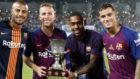 Rafinha, Arthur, Malcom y Coutinho celebran la Supercopa de España.