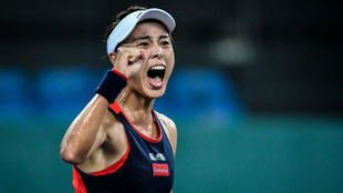 Qiang Wang celebra su victoria en Cantón.