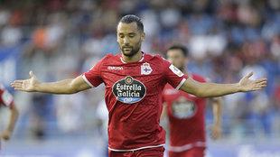 Quique González celebrando el tanto que marcó ante el Tenerife.