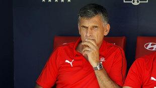 José Luis Mendilibar, en el banquillo del Wanda Metropolitano.