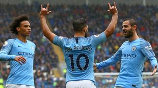 Agüero celebra su gol al Cardiff